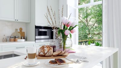 breakfast in a nice kitchen interior. 3d rendering